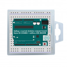 Набор с платой Arduino-совместимой Nano R3 CH340G + кабель USB-MiniUSB