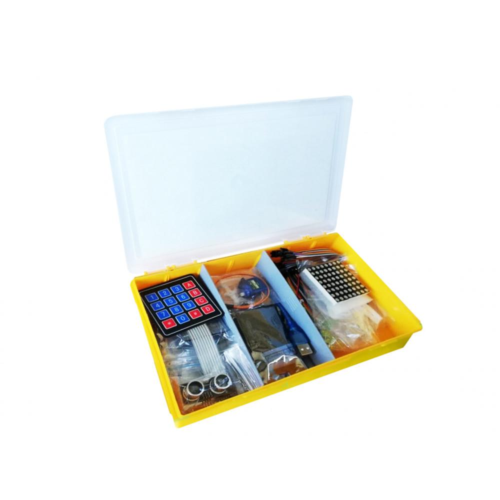Набор с платой Arduino-совместимой и инструкцией малый (5 проектов) жёлтый кейс