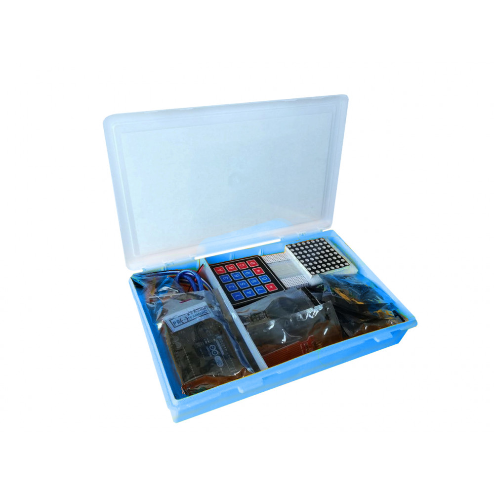 Набор с платой Arduino-совместимой и инструкцией средний (10 проектов) синий кейс